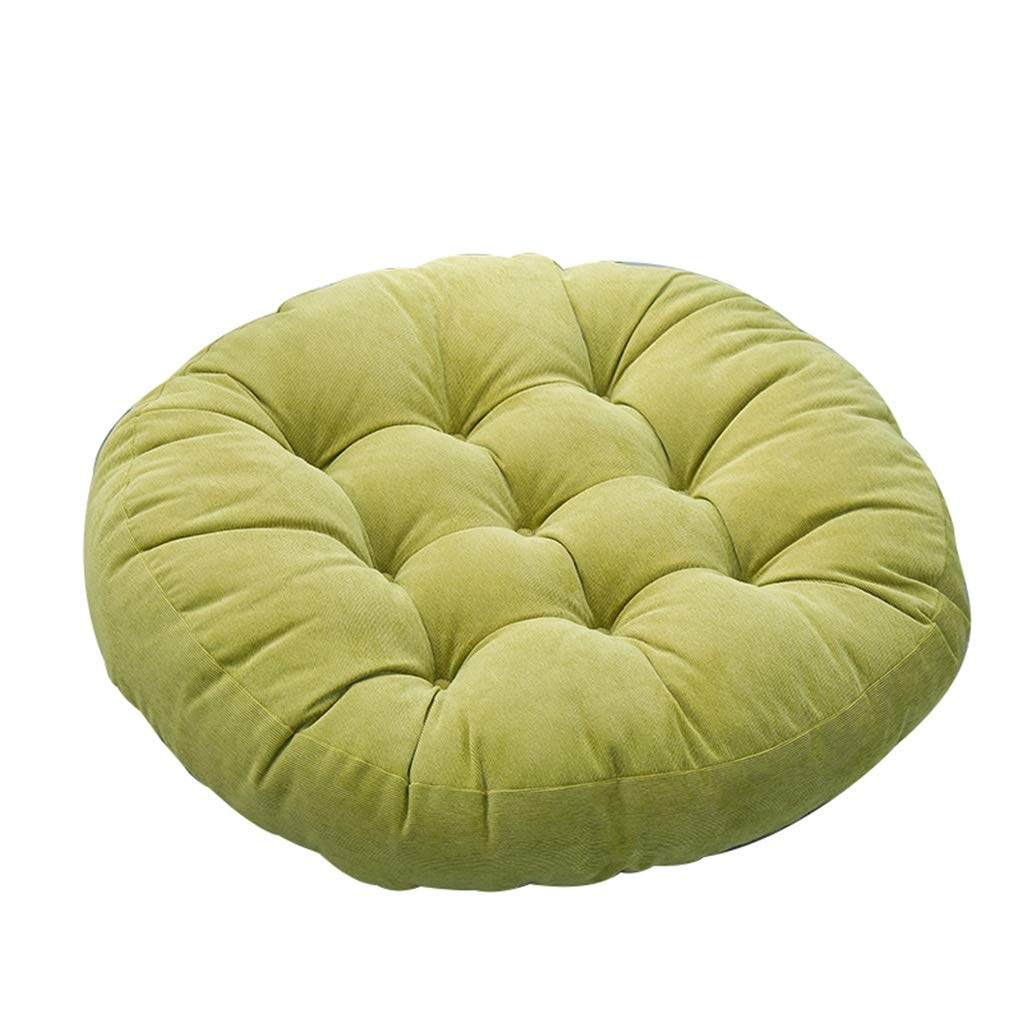 Yilian Zuodian Japanese Style Simple Round Corduroy Tatami mat futon Sofa Cushion Diameter 58cm (Color : Grass Green) by Yilian