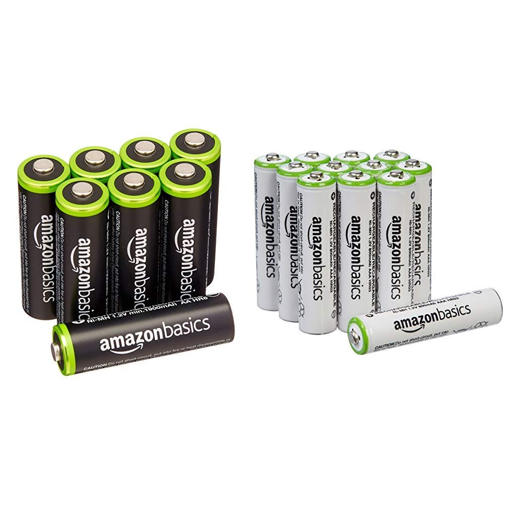 AmazonBasics HR-3UTG-AMZN AA Rechargeable Batteries (8-Pack) Pre-charged - Packaging May Vary, White & AAA Rechargeable Batteries (12-Pack) - Packaging May Vary by AmazonBasics