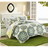 Chic Home 3 Piece Ibiza Printed Medallion Reversible Geometric Backing Duvet Set, Full/Queen, Yellow