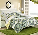 yellow and blue bedding - Chic Home Ibiza 3 Piece Duvet Cover Set Super Soft Reversible Microfiber Large Printed Medallion Design with Geometric Patterned Backing Zipper Closure Bedding with Decorative Shams, Full/Queen Yellow