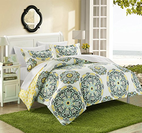 Chic Home Ibiza 3 Piece Duvet Cover Set Super Soft Reversible Microfiber Large Printed Medallion Design with Geometric Patterned Backing Zipper Closure Bedding with Decorative Shams, Full/Queen Yellow (Blue Yellow Gray Bedding)