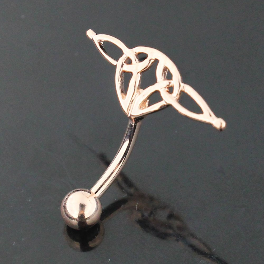 3 Micron 18K Rose Gold Plated Plain Tribal Reverse Bar Design 925 Sterling Silver Belly Button Ring