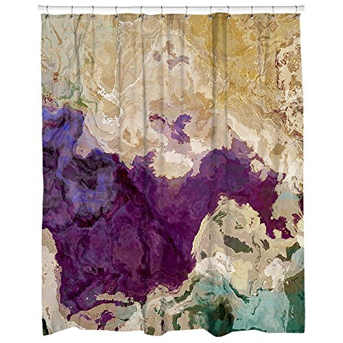 Abstract Shower Curtain Purple Beige And Green Plum Creek