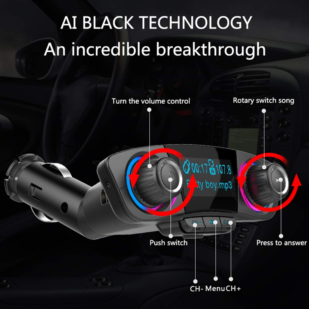 GoGo Car C6083 Wireless Audio Receiver with Hands-Free Call and 1.3 LED Display Black Car Bluetooth FM Transmitter Music Player Support TF Card//USB Flash Drive and AUX Input//Output Car Kit with 2.1A USB Ports
