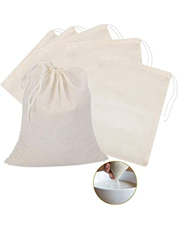 Unbleached Fruit and Milk at Home Steaming 10Pcs Cheesecloth Bags/&Muslin Bags/&Cold Brew Bag for Straining Filtering Wine Beer