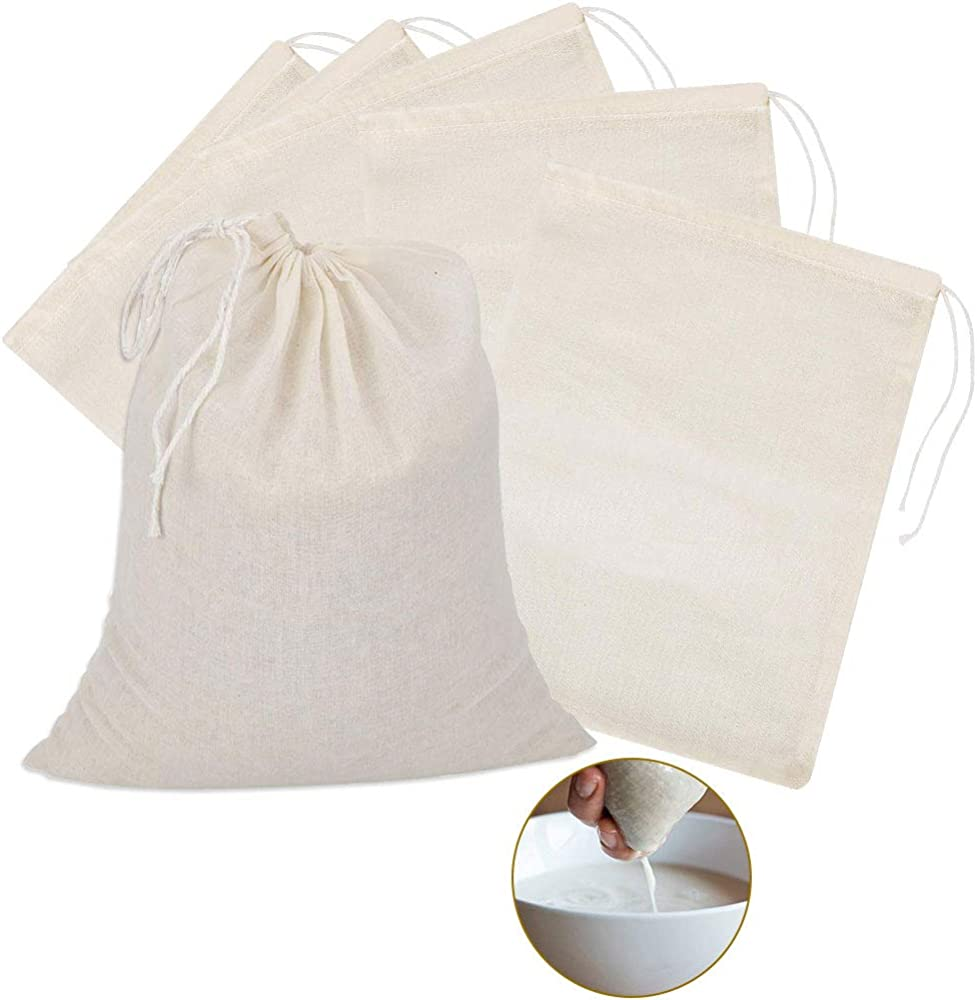 TANCUDER 6 bolsas de muselina de algodón con cordón, reutilizables, bolsa de malla para filtro de té, café, mantequilla, vino, filtro de leche, colar frutas en casa (40 x 50 cm): Amazon.es: