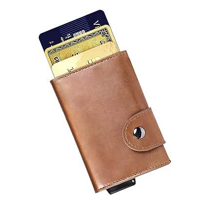 Tarjetero RFID Bloqueo,Billetera Hombre,Cartera Tarjetero Hombre,RFID Tarjetero Metalico Porta Tarjetas Identificativas de Cuero Brown (Marrón)