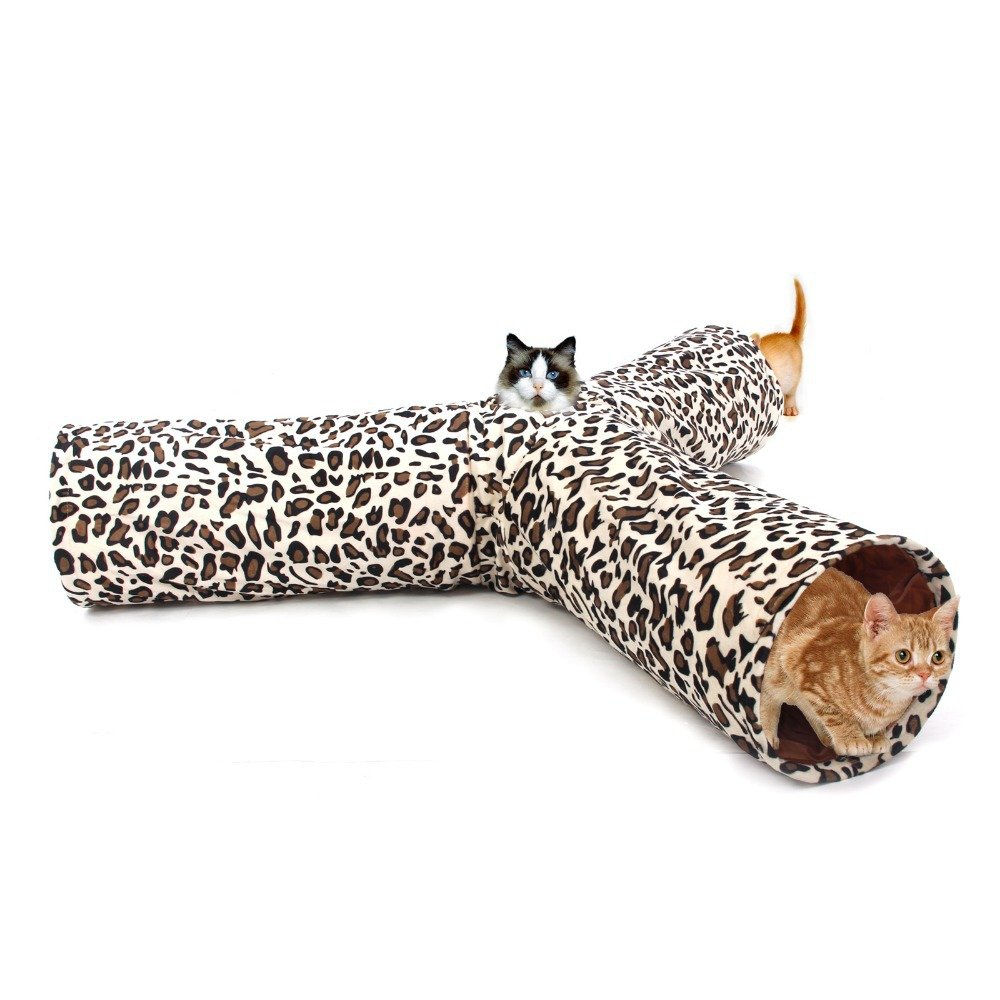PAWZ Road Leopard Print 3 Way Cat Tunnel crinkly sounds, Cat Tunnel Toy indoor collapsible (Diameter 25cm)