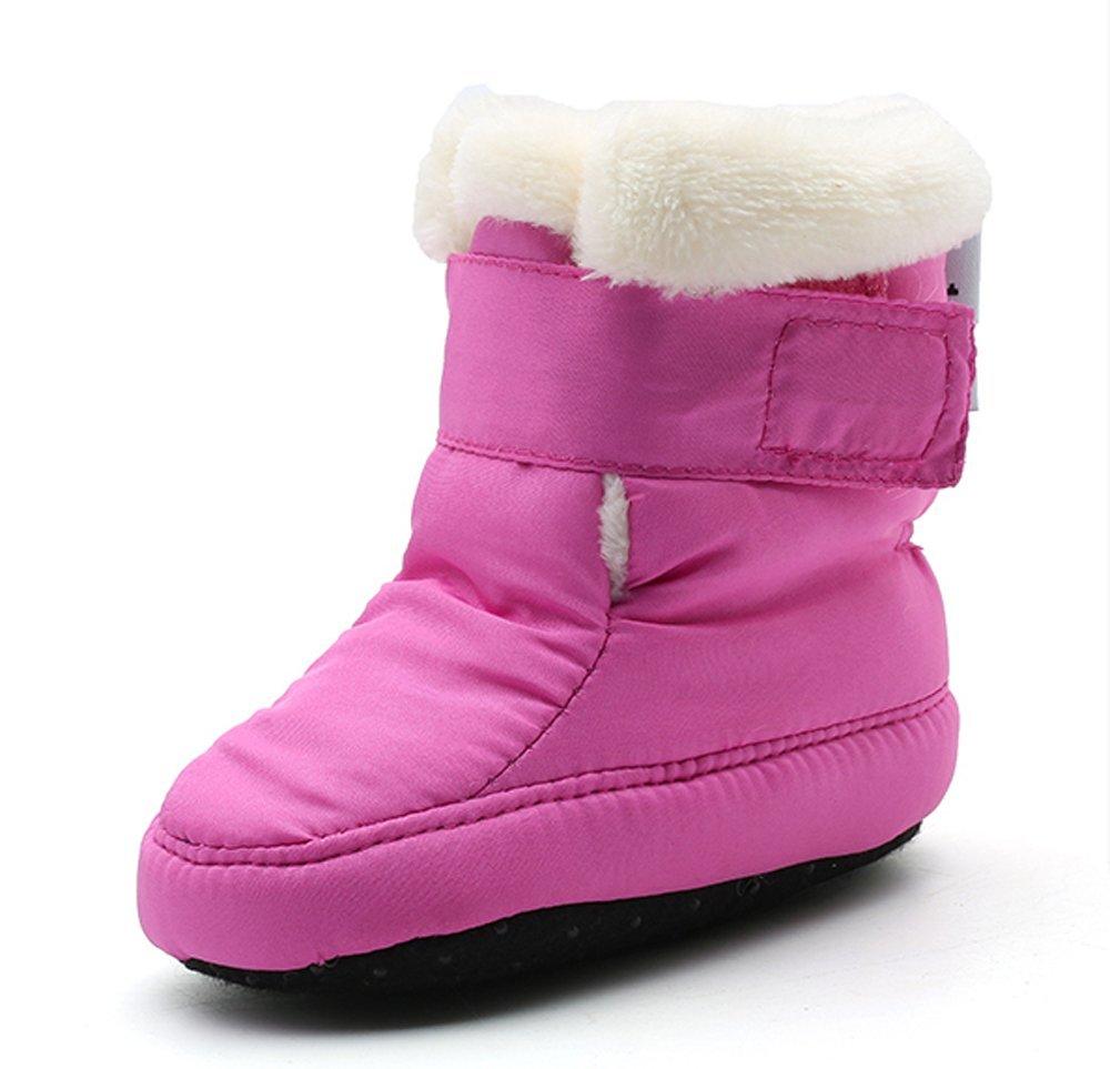 Kuner Newborn Baby Boys and Girls Waterproof Winter Warm Snow Boots Crib Shoes (13cm(6-12Months), Purple)