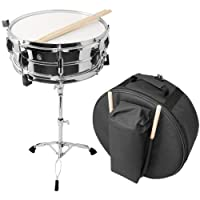 Essentials 14 Inch Snare Drum with Stand, Sticks and Travel Case - Chrome Finish