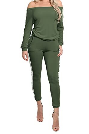 13ab9d581c5a mywell TrinhGuo Womens Off Shoulder 2 Piece Sweatsuit Set Outfits Tracksuit  Army Green S