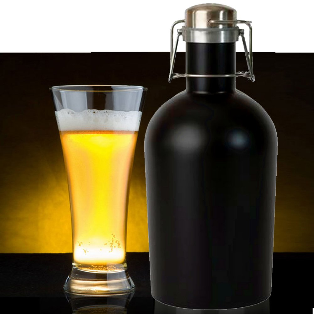 Growler X24- Stainless Steel Single with Secure Swing Top Lid - 64-Ounce - Keep Beverages Cold (L.G.) Black by Living&Giving (Image #6)