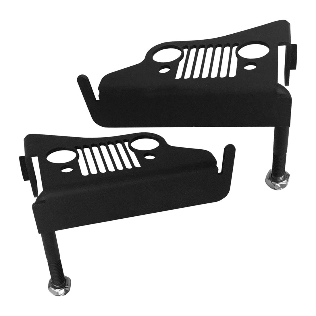 IPARTS Front Black Footrest Pegs Grille Foot Pedal Steel Panel for Jeep Wrangler 07-17 JK&JKU - Pair