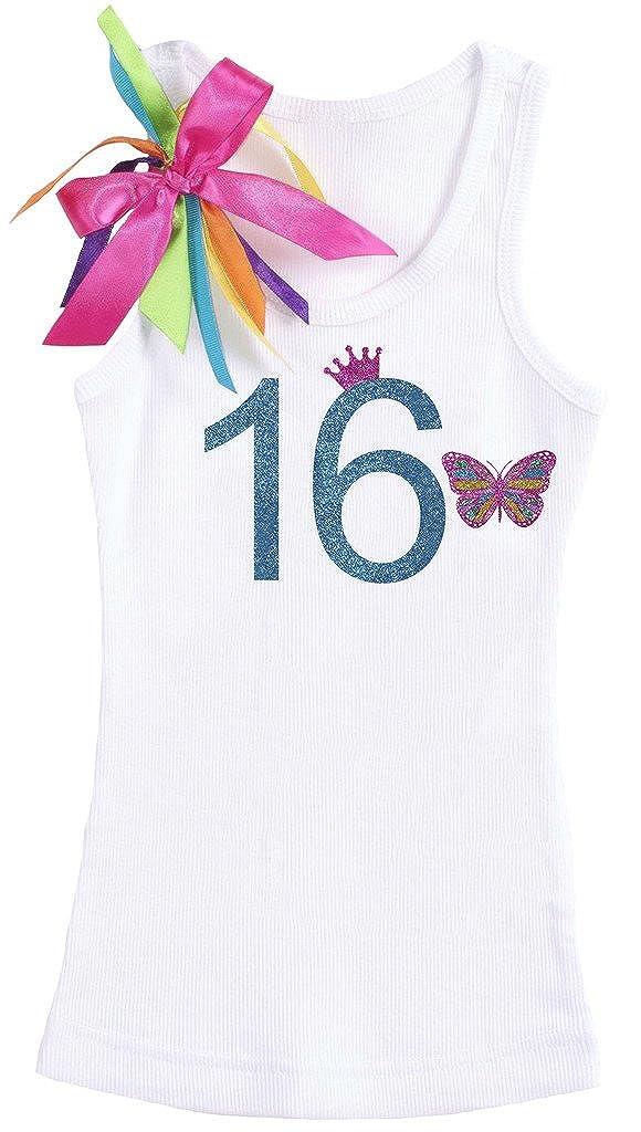 Bubblegum Divas Big Girls Sweet 16 Birthday Rainbow Butterfly Tank Top