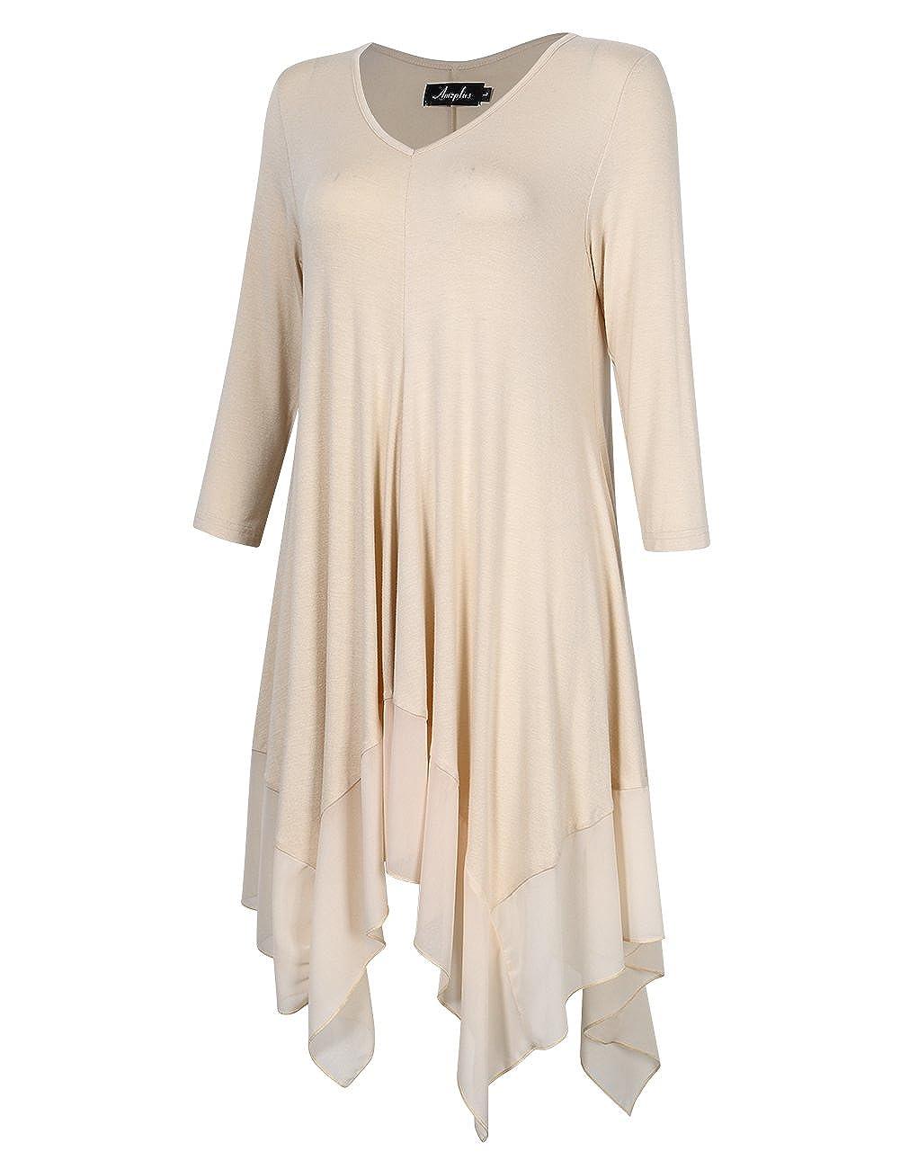 cfab912fff9 AMZ PLUS Womens Plus Size Irregular Hem Short Sleeve Loose Shirt Dress Top  at Amazon Women s Clothing store