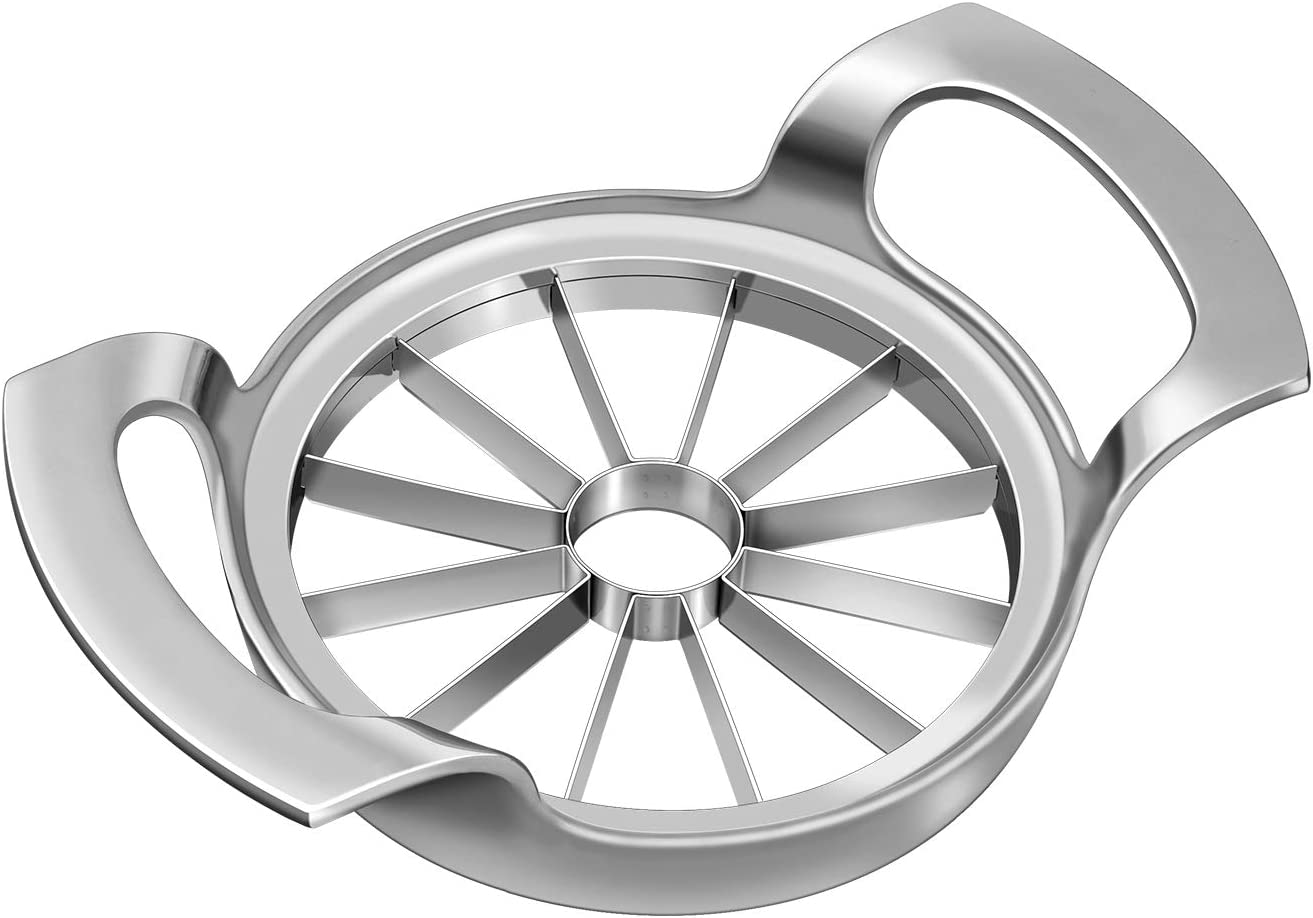 Aggravate Apple Slicer Upgraded Version 12-Blade Extra Large Apple Corer, Stainless Steel Ultra-Sharp Apple Cutter for Up to 4 Inches Apples.Silver