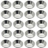 VEIREN 20 Pack Egg Tart Molds Aluminum Alloy Mini Tart Pans Round Reusable Heat Resistant Non- stick Baking Cups for…