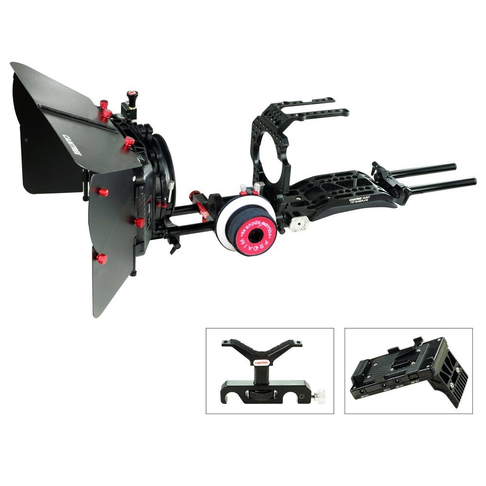 Camtree Hunt Camera Cage Shoulderマウントサポートキットfor Sony pxw-fs7 (ch-fs7-ckit)スタビライザーリグwithマットボックス&フォローフォーカス+無料アクセサリー   B01MDTZ2DN