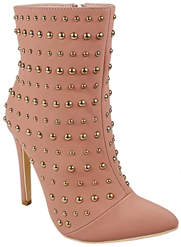 Women Metal Studded Decor Pointed Toe Faux Suede Zip Soft Fur-Lined Stiletto Heel Ankle Bootie