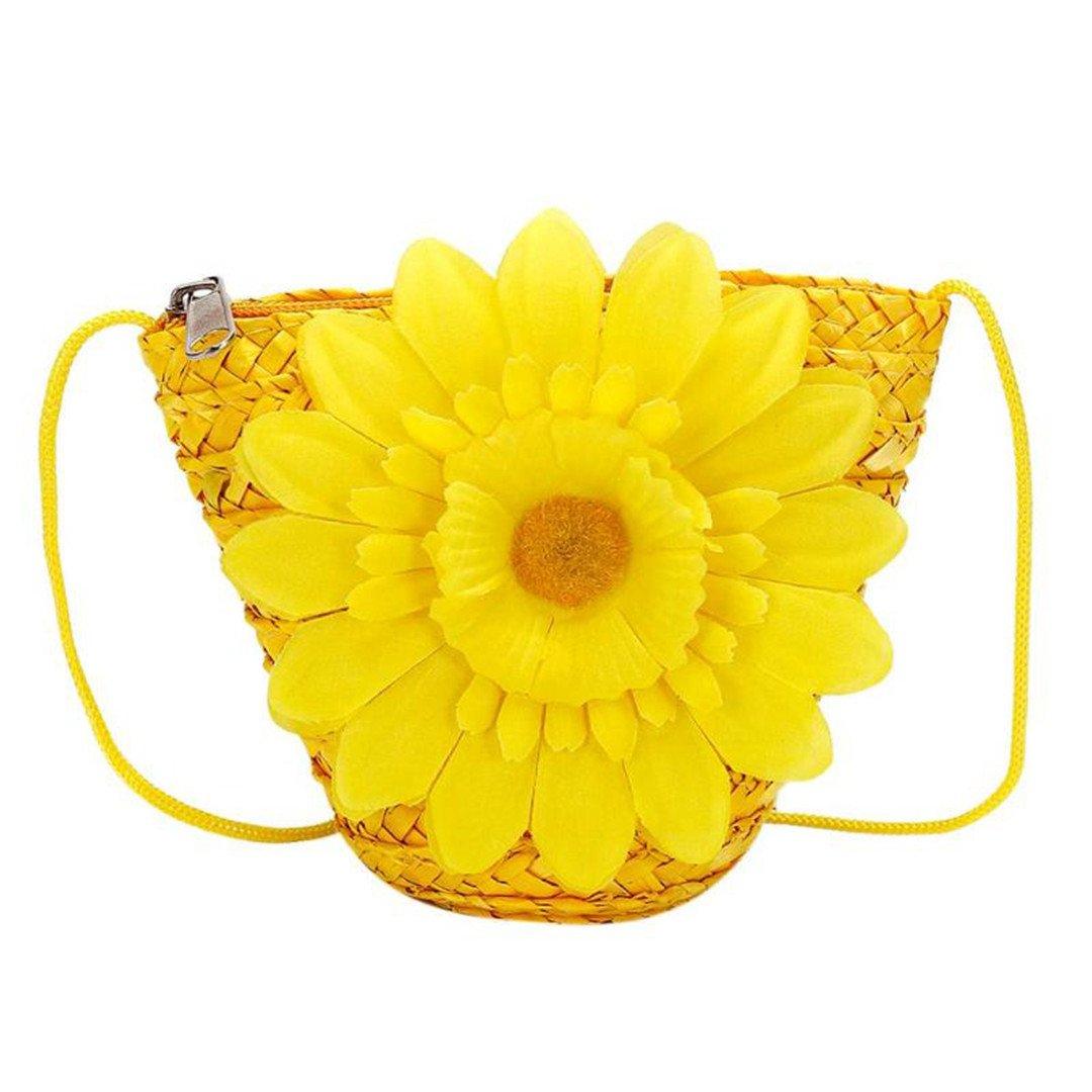 Bolso PequeñO Tejido De Mimbre Flores Bolsa De Paja Monedero De Mujer Mini Verano Bolsas De Hombro De Playa para NiñAs Carteras para NiñOs Yellow: ...