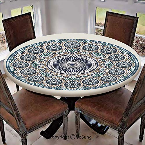 "Elastic Edged Polyester Fitted Table Cover,Antique Arabic Mosaic Circular Pattern Round Design Ornamental Pattern Vintage Style Art,Fits up 40""-44"" Diameter Tables,The Ultimate Protection for Your Tab"