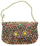 David Jeffery Handbag - Black With Multicolor Beads and 24'' Gold Tone Metal Chain Strap, 7''W x 5''H