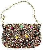 David Jeffery Handbag - Black With Multicolor Beads and 24'' Gold Tone Metal Chain Strap, 7''W x 5''H