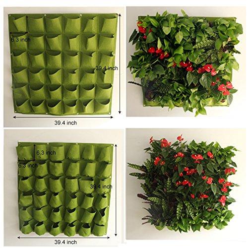 Mr Garden Vertical Garden Grow Bag, Wall Hanging Felt Planter Bag 36 Pockets Indoor/Outdoor Herbs Flowers, Green by Mr Garden