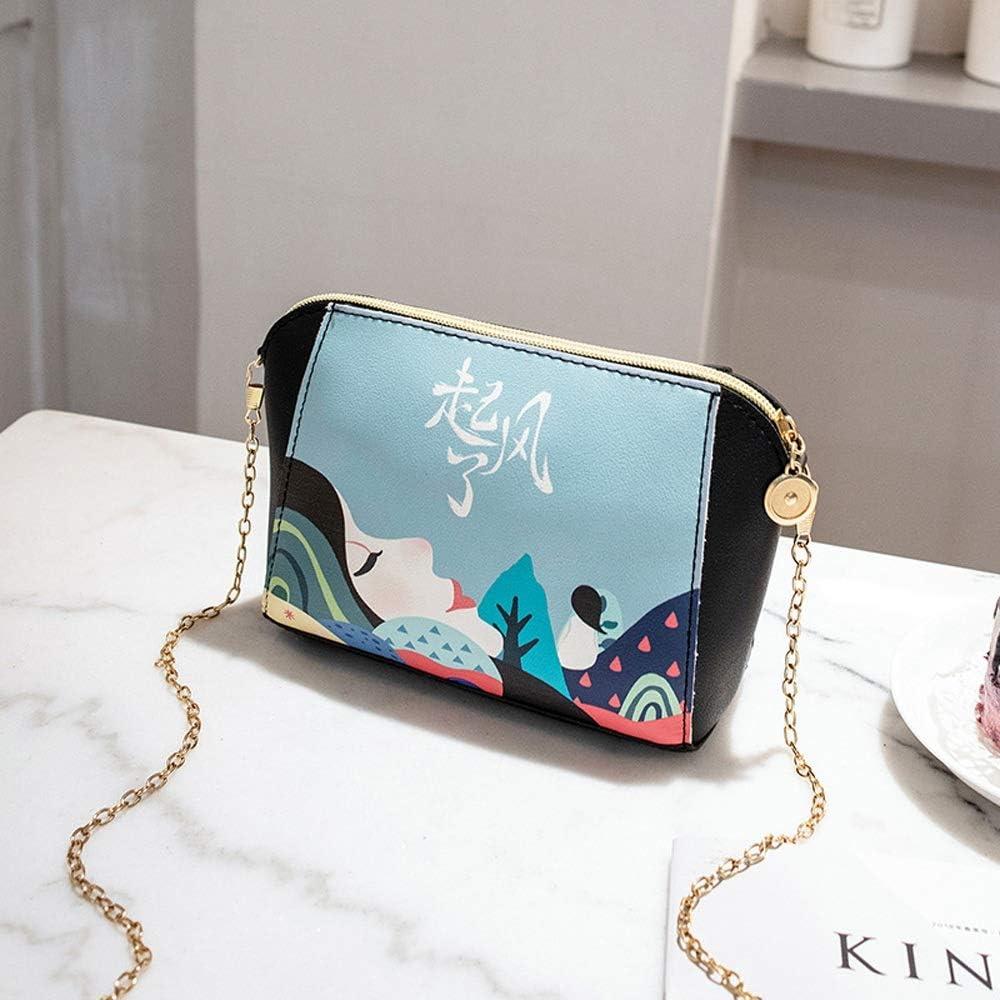 Rebily Borsello in Coreano Stampato Il Sacchetto di Shell di Spalla di Modo delle Nuove Donne del Sacchetto Primavera/Estate Bag (Color : Nero) Blu