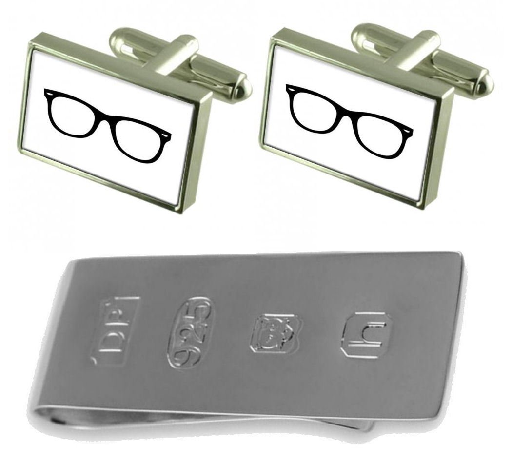 Glasses Spectacles Cufflinks & James Bond Money Clip by Select Gifts