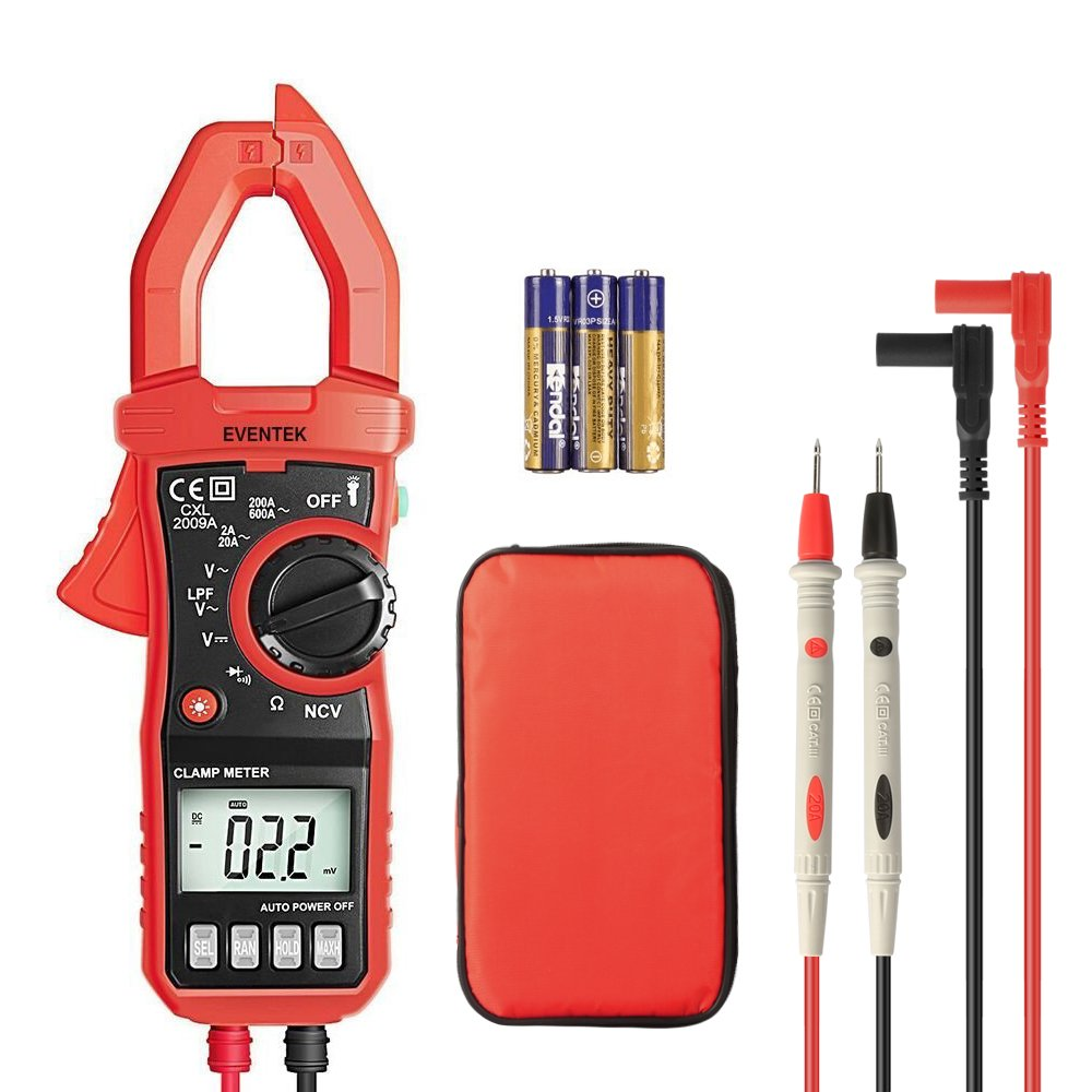 Digital Clamp Meter, 4000 Counts Eventek ET820 Auto-ranging Multimeter with NCV For Measuring Non-contact AC / DC 600V Volt / 600A Amp / Frequency / Resistance / Continuity / Diodes