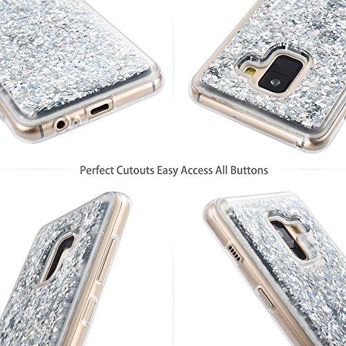 Funda Samsung Galaxy A8 PLUS 2018, Wuloo Glitter Liquid Funda Lujo Líquido Moda 3D Bling Cubierta Flowing Liquid flotante Sparkly Glitter Cute Cover Protección Suave TPU Bumper Case para Samsung Galax Plata