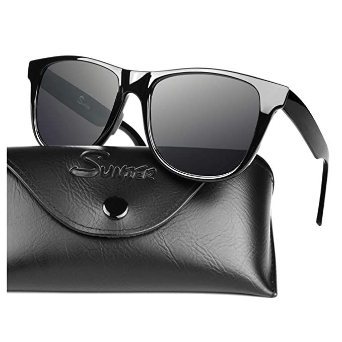 e255efcd205 SUNIER TR90 Series Classic 80's Polarized Sunglasses for Men and Women  Unbreakable Frame S01