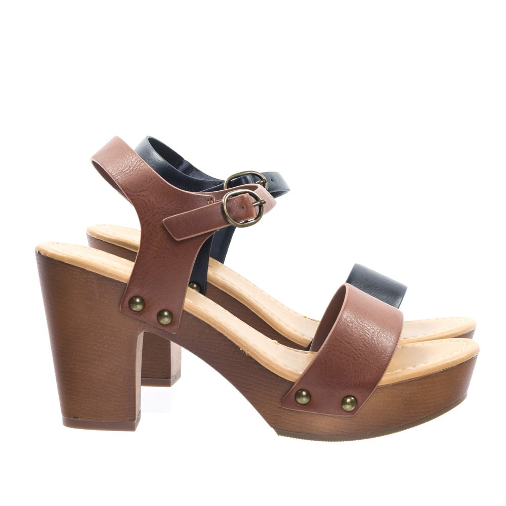 f3154d171fba1 Soda Retro Metal Stud Detail Faux Wooden Block Heel Platform Sandal