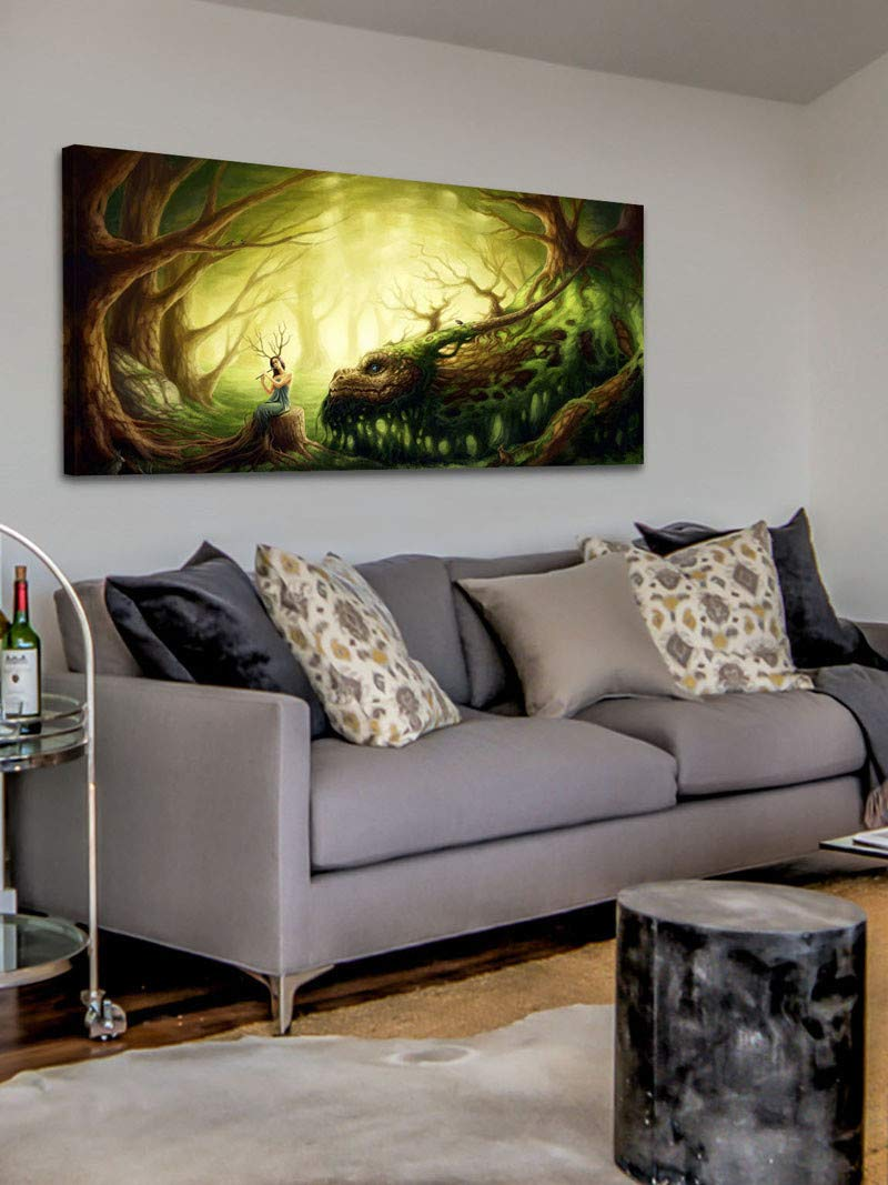 Marmont Hill Inc Marmont Hill - Handmade Forest Dragon Painting Print on Canvas 45 x 22.5 by Marmont Hill Inc
