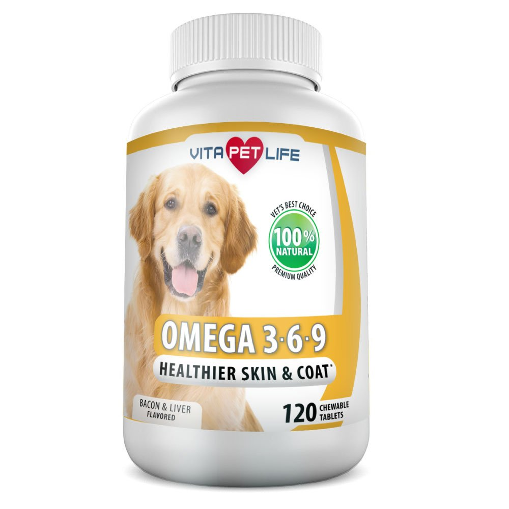 Omega 3 for Dogs, Fish Oil, Flaxseed Oil, Antioxidant, DHA EPA Fatty Acids, Brain Health, Shiny Coat, Itchy Skin Relief, Dry Skin, Immune System Support, Anti Inflammatory, 100% Natural (120 Chews)