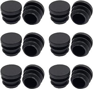 Suiwotin 12PCS 16mm (5/8 Inch) Round Plastic Plug, Round Black Plastic End Cap, Pipe Tubing End Cap, Furniture Finishing Plug