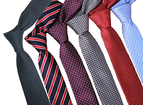 Zakka Republic 6pcs Mens Fashion Business Skinny Necktie Tie Mixed Set ()