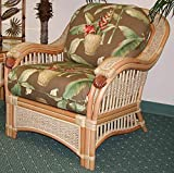 Armchair with Cushion in Natural Finish (Palm Floral Garden (All Weather))
