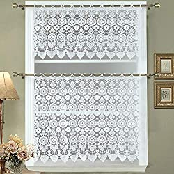 DS BATH Medallion Kitchen Curtain Valance and Tier,Macrame Kitchen Curtain Set,Decorative Window Valance