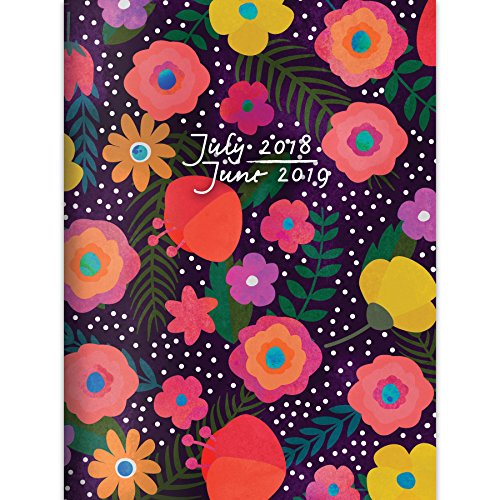 "TF Publishing 19-4205A July 2018 - June 2019 Blooming Monthly Planner, 7.5 x 10.25"", Black & Pink"