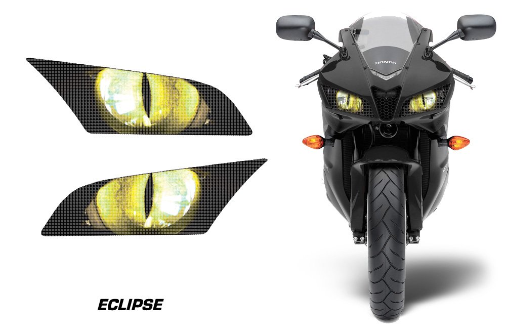 AMR Racing Sport Bike Headlight Eye Graphic Decal Cover for Honda CBR 600 RR 09-12 - Eclipse Yellow