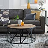 Belham Living Allen Reclaimed Wood Drum Coffee Table