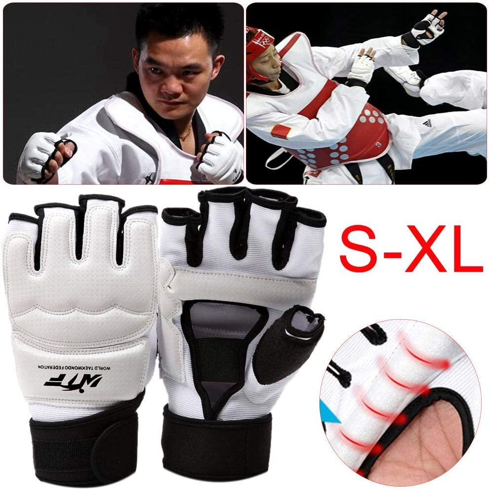 Evenlyao Taekwondo Gloves Kids Ladies Half Mitts Leather Gloves For MMA Training Punch Bag Kickboxing Sparring Grappling Martial Arts Muay Thai Taekwondo Wrist Wraps Support