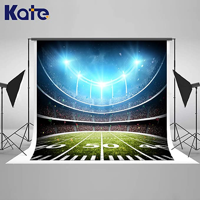 Kate 10x6.5ft Green Football Stadium Backdrop Soccer Match Photo Background Party Decoration Photo Backdrop
