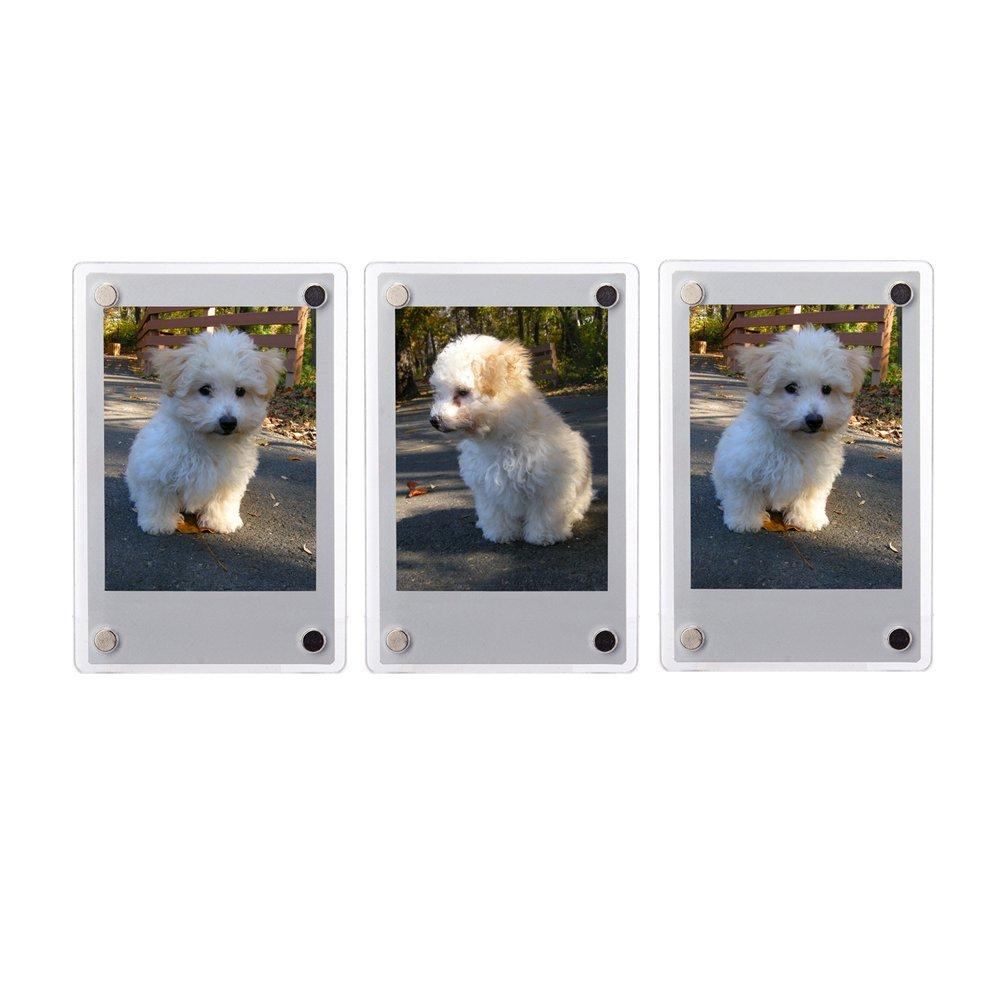 FoRapid 3 PCS 3-inch 2-Sided Clear Acrylic Refrigerator Magnetic Photo Frame-Elegant Frameless Display Fujifilm Instax Mini 9 8 8+ 70 7s 90 25 26 50s Film/Cards/Memos/HP pocket Photo Paper/2x3 Photo