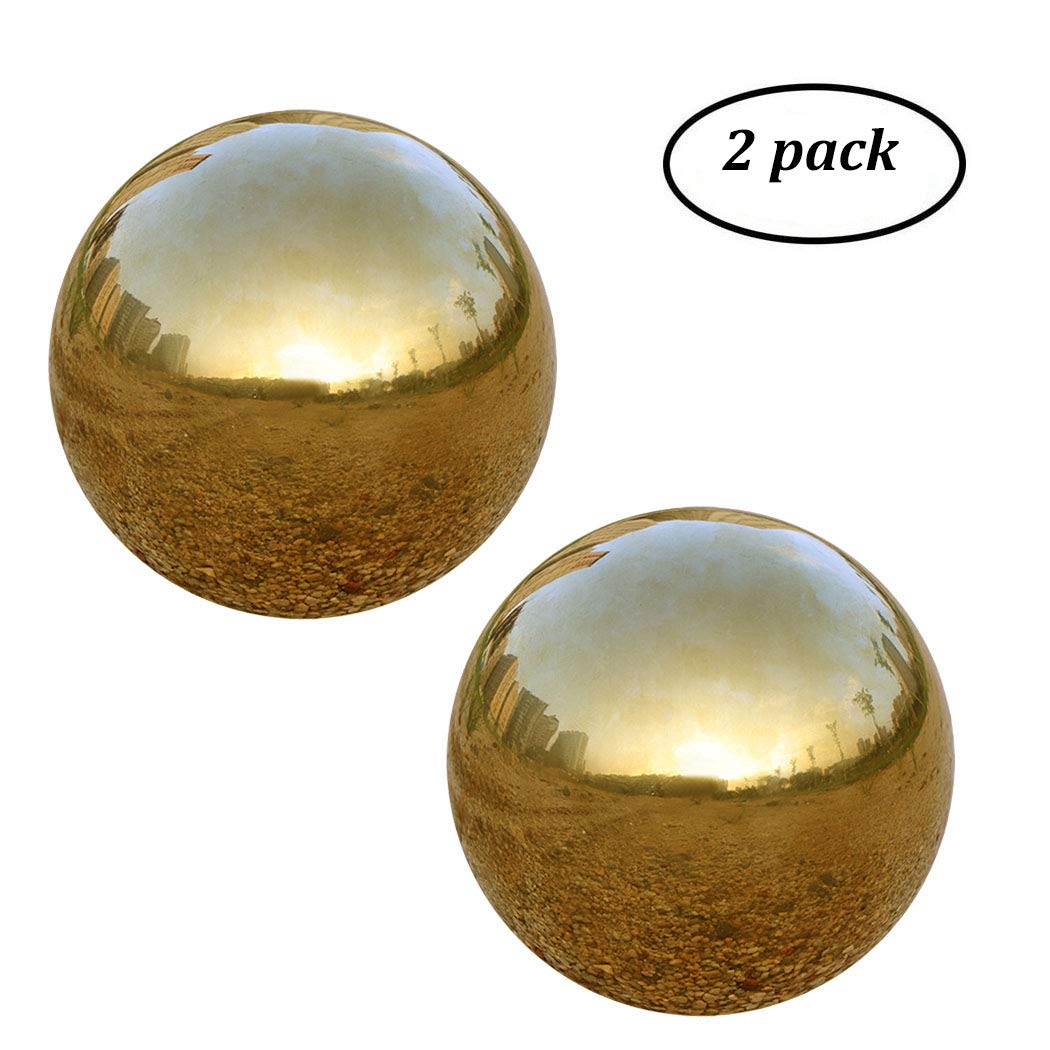 UShodor Pack of 2, Stainless Steel Hollow Gazing Ball Polished Shiny Mirror Sphere for Home Garden Ornament in Gold (4.7 Inch)