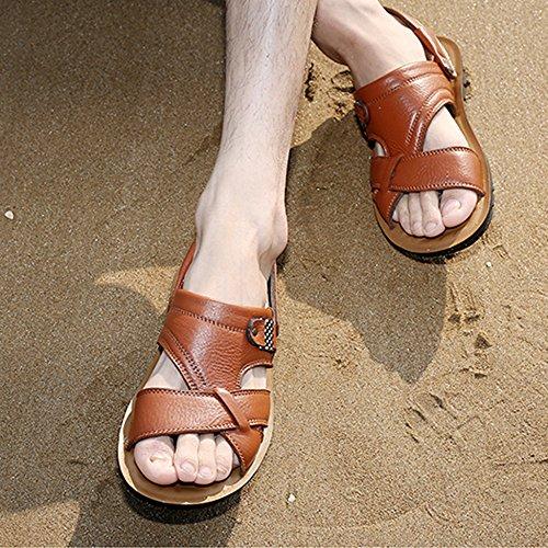 Gran 47 De De De Tamaño Sandalias Yellow 37 Los Chanclas Tallas De Ocasionales Los Cuero Zapatillas Antideslizantes Genuino Pies Hombres De La Sandalias Playa Zapatillas Grandes 8t00Sxqd