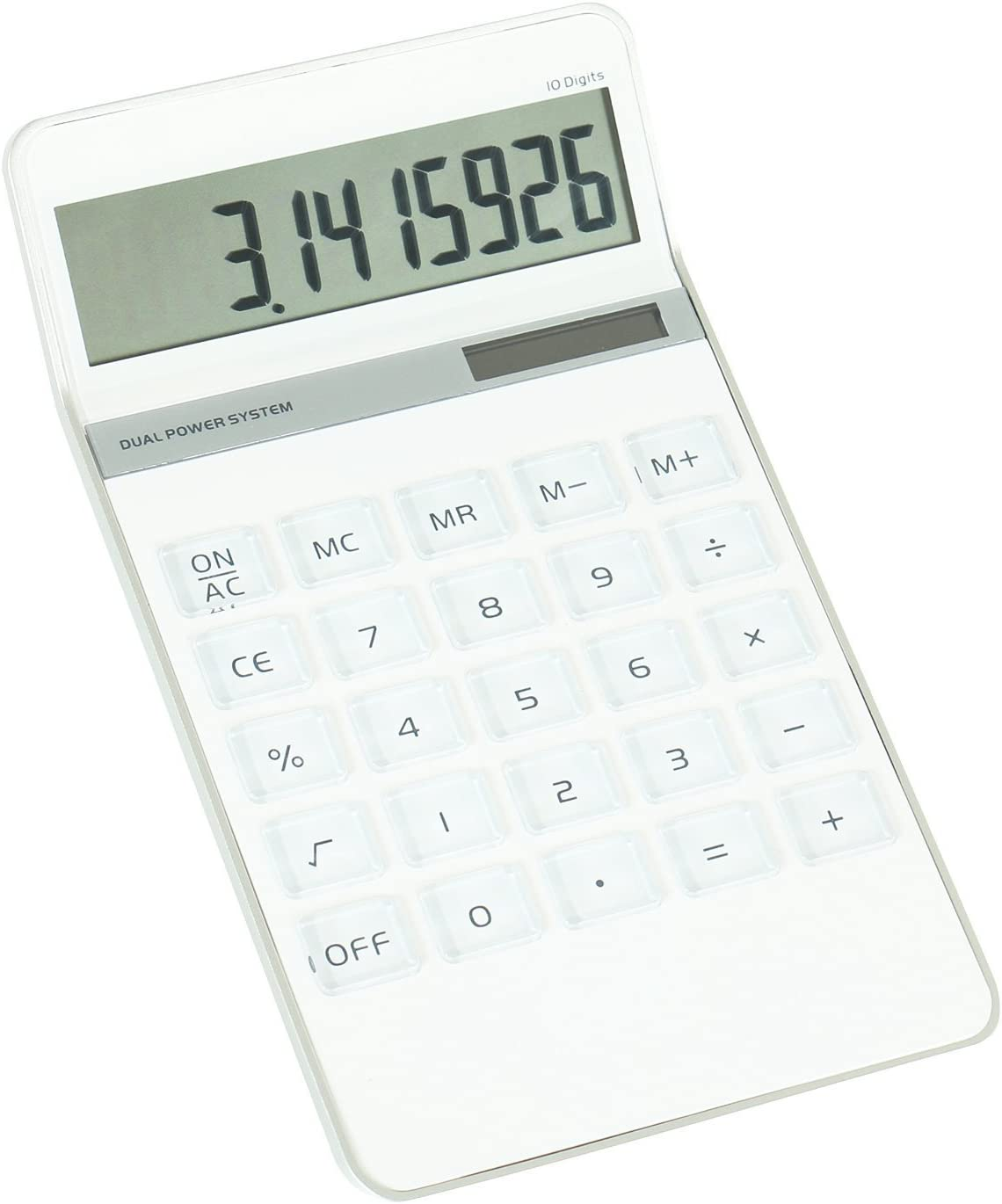 Elegant Design Pure White 10 Digit Dual Powered Standard Function Calculator Desktop Calculator