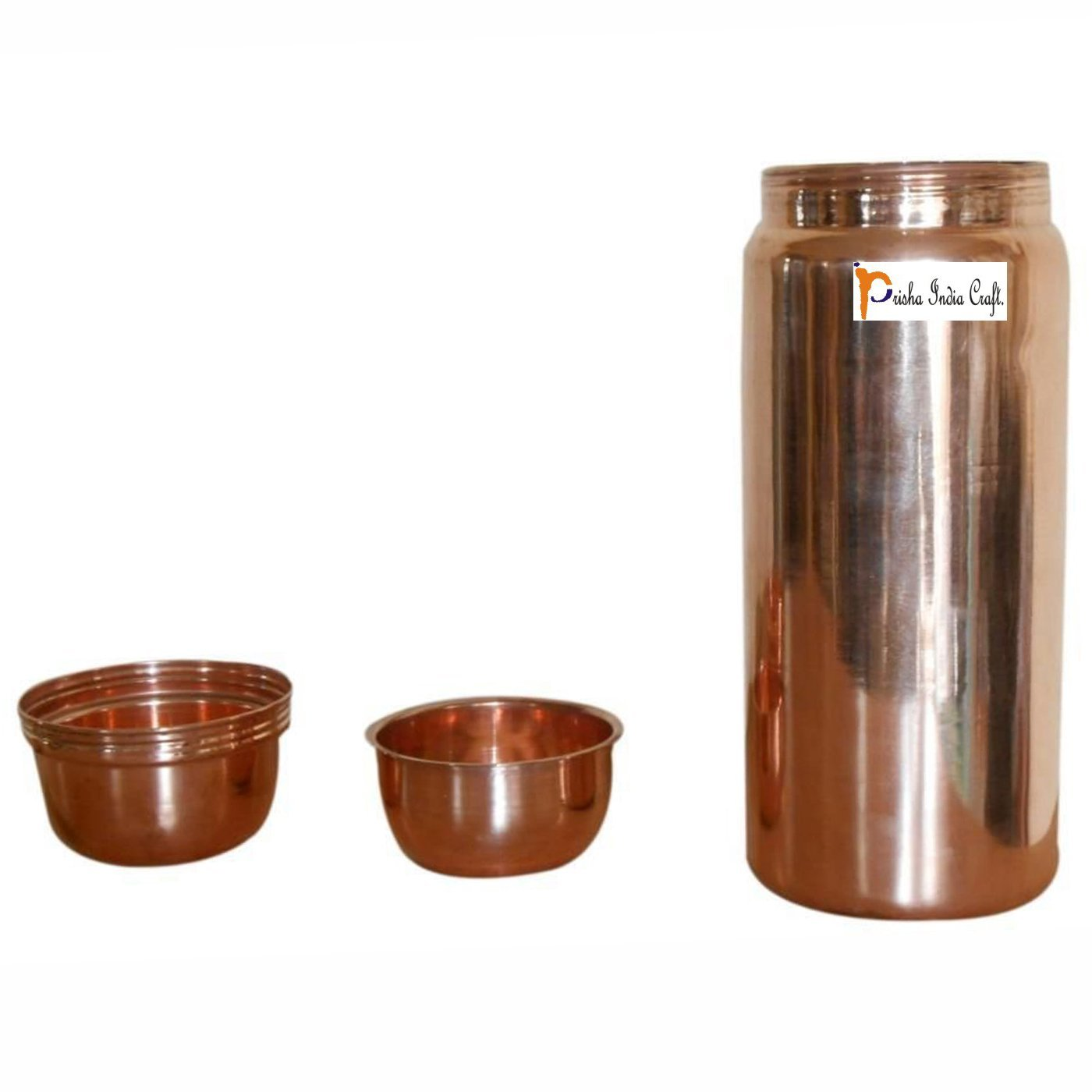 Prisha India Craft Thermos Design Pure Copper Bottle, Drinking Water, Fridge Bottles, Travel Essential, Joint Free, 1800 ML/60 Ounce